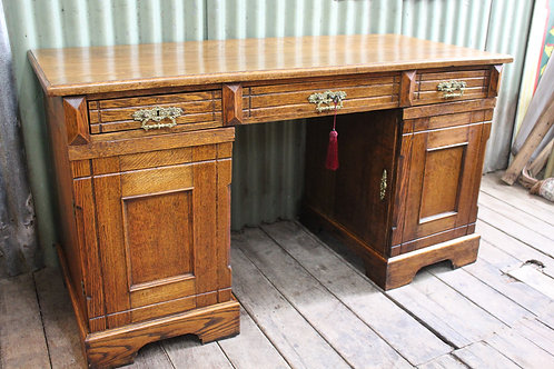 An Antique French Provincial Oak Twin Pedestal Desk *FREE DELIVERY *T&C's