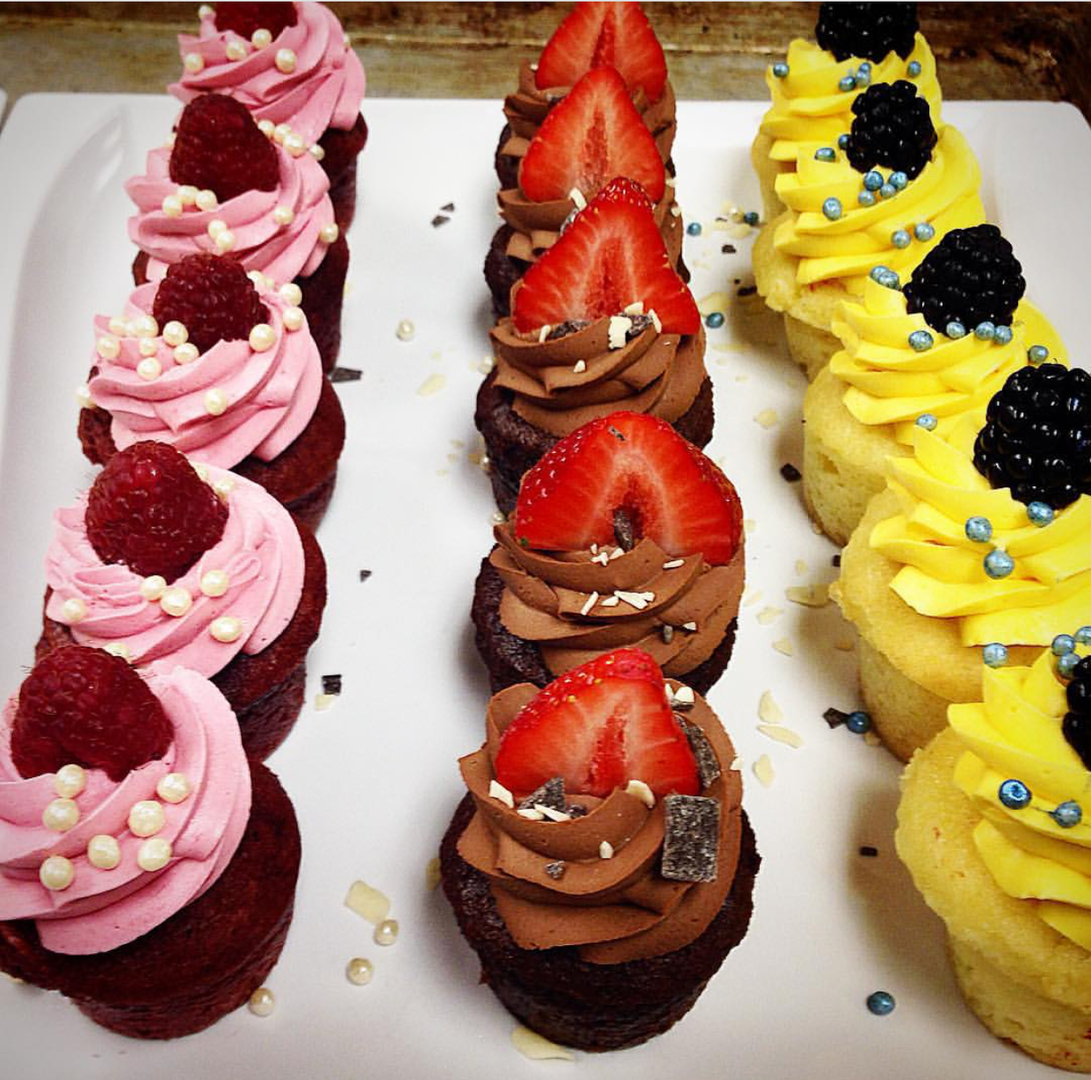 Raspberry velvet cupcake, Strawberry chocolate cupcake, lemon blackberry cupcake