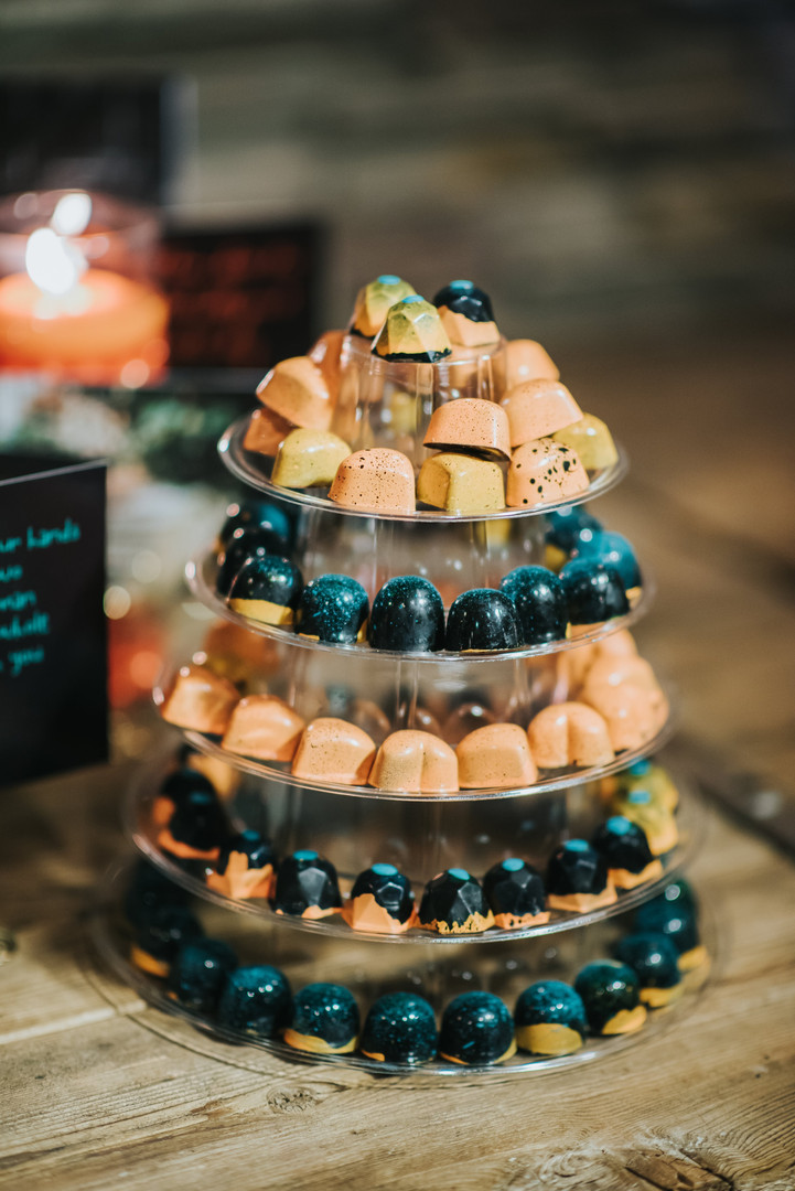 Bonbon tower wedding dessert table