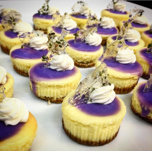 Lavender cheesecake with lavender glass