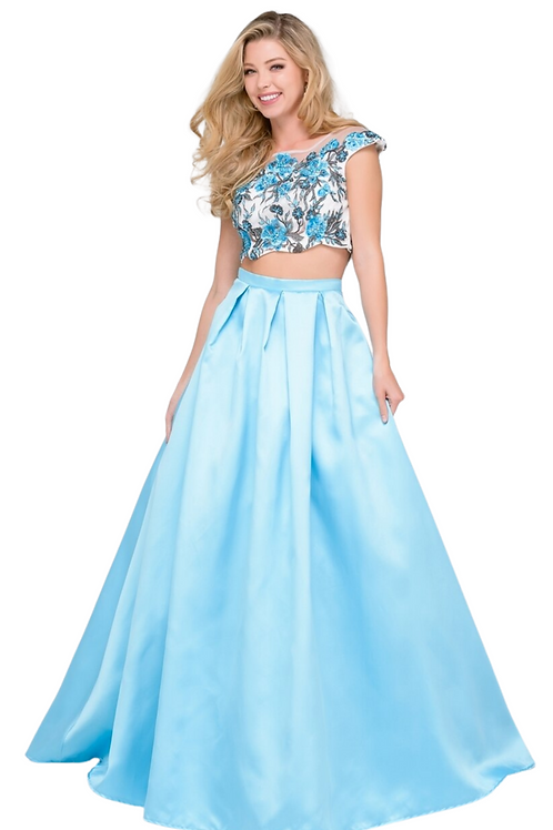 JVN 48713 Two Piece Sky Blue Gown