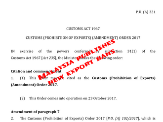 Amendment of Custom's Act by Malaysian Government