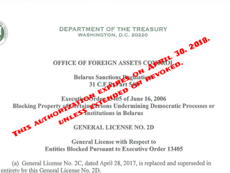OFAC issued Belarus General License