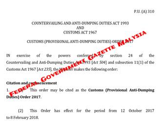 Malysia  P.U. (A)310 New Anti-Dumping rule