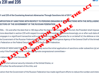 "Dept. of State published a list to Section 231 of ""CAATSA"""