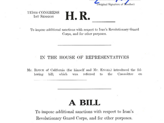Iranian Revolutionary Guard Corps Economic Exclusion Act introduced in the US House of Representativ