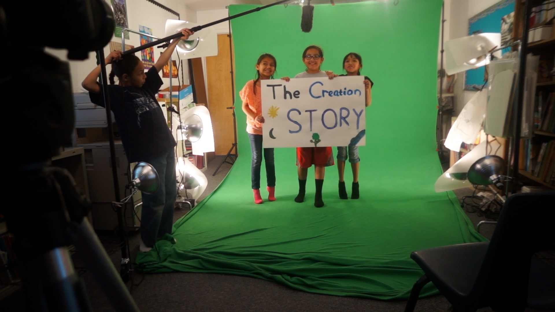 Students working on the film