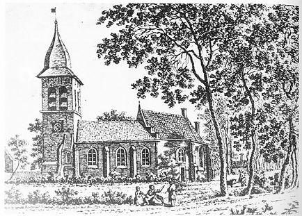 1. tekening middeleeuwse kerk in 1743. bron Spilman.jpg
