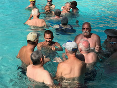 Dancing in a pool at Convention in Palm Springs