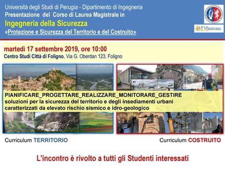 """PRESENTAZIONE CORSO DI LAUREA MAGISTRALE IN INGEGNERIA DELLA SICUREZZA """"Protezione e Sicurezza"""