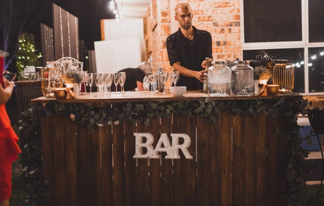 our rustic bar in action