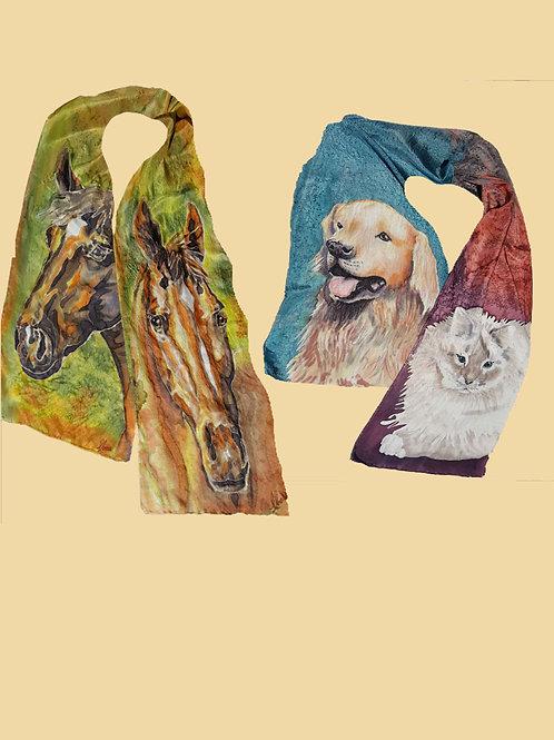 "10.5"" x60"" custum hand painted silk scarf"