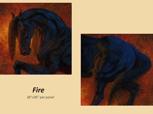 """Fire"" original acrylic on 2 36""x36"" canvas panels"