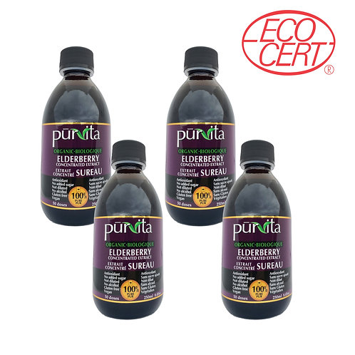 ORGANIC Elderberry Concentrate Extract 250ml - 4 pack
