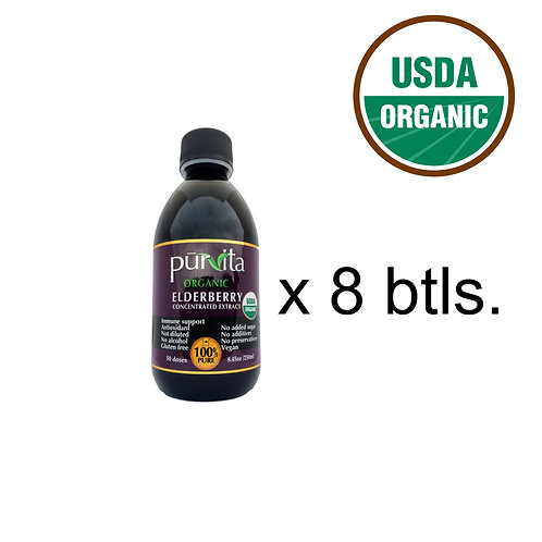 USDA ORGANIC Elderberry Concentrate Extract 250ml - 8 pack
