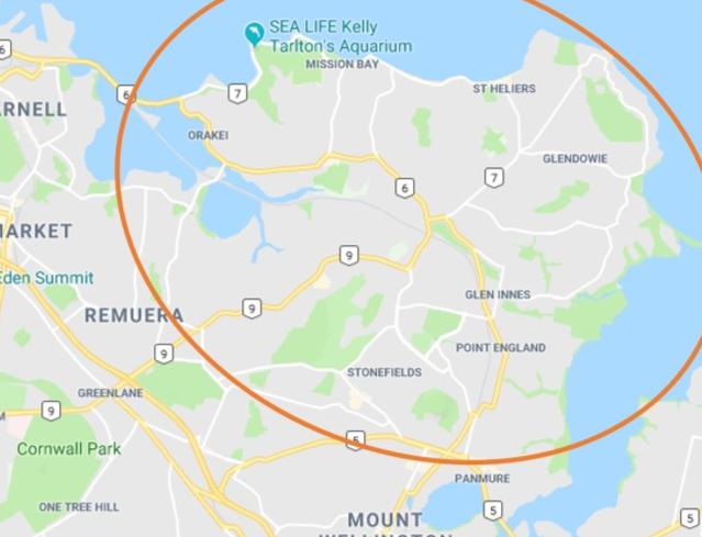 Map area Auckland Errands