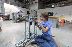 Student working on a robot