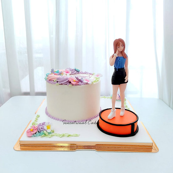 Beautiful Lady Sugar Crafted with Rosette Flora design Woman 3D Customized Cake