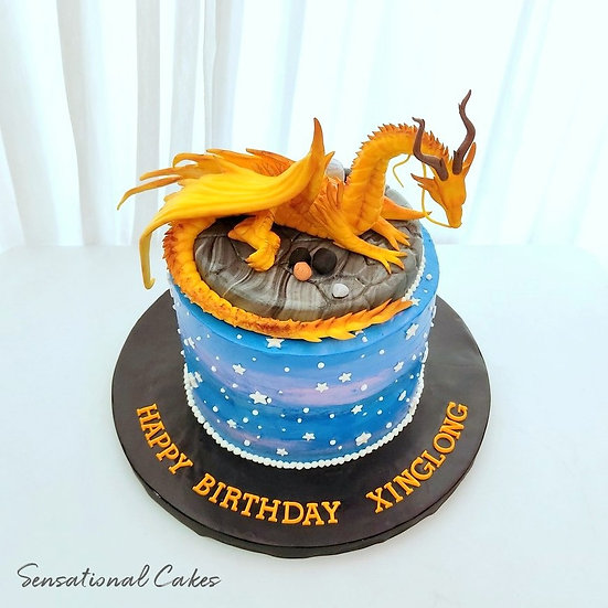 Fantastic Mystical Dragon Theme 3D Sugarcrafted Customized Cake