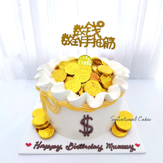 Money Pulling Pot Gold Wealth Longevity 3D Customized Cake