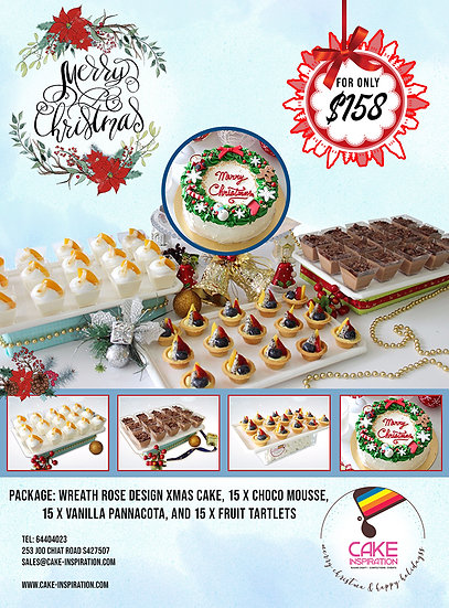 NEW! Christmas Combo package 4-in-1 with 8 inch Wreath Rose Cake ( CPC#31 )