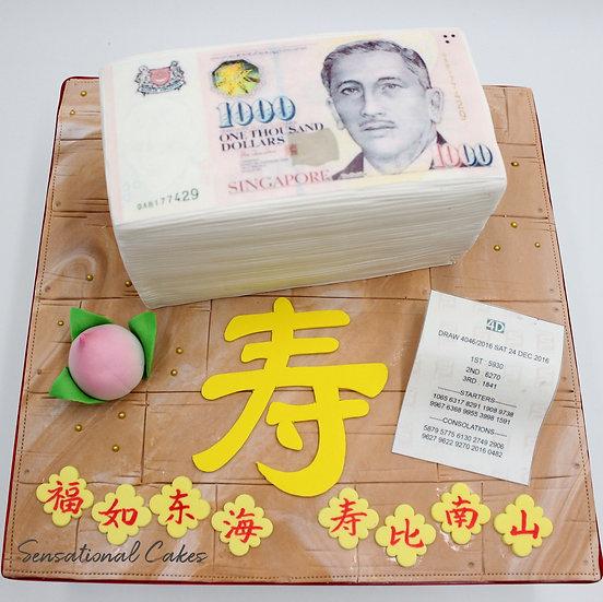 Longevity Money Fortune Sweepstakes Lottery Jackpot $$$ 3d Customized Cake