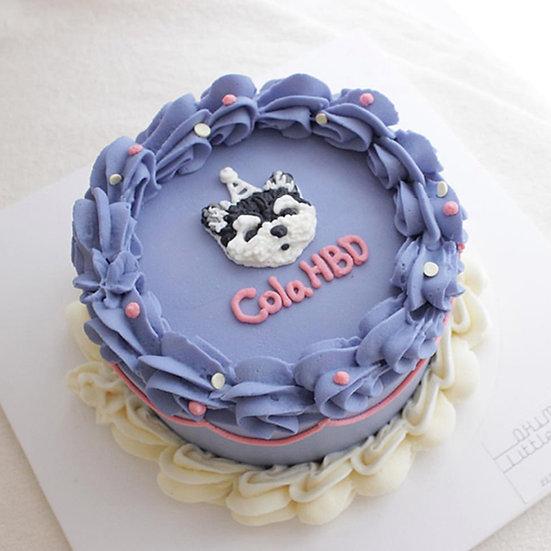 Pet Purple & White Design Theme Birthday Cake