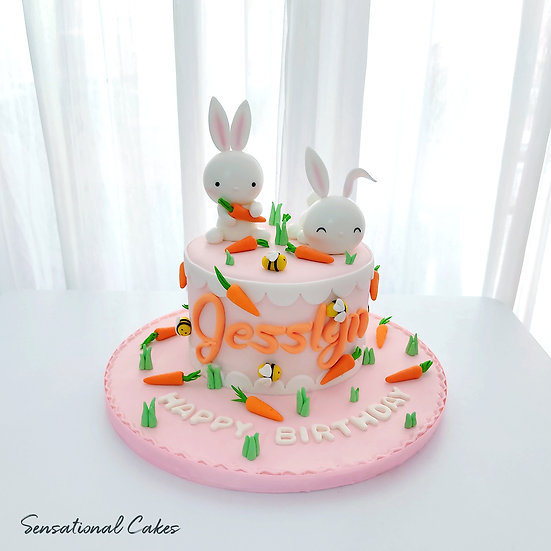 Cute Little Rabbits Animal Design  Children 3D Handcrafted Customized Cake
