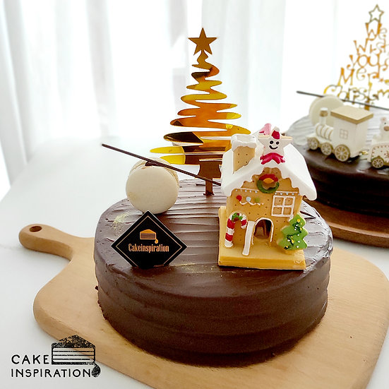 Christmas Wooden Gingerbread House in Belgian Chocolate Cake - 6 inch  ( CC#14 )