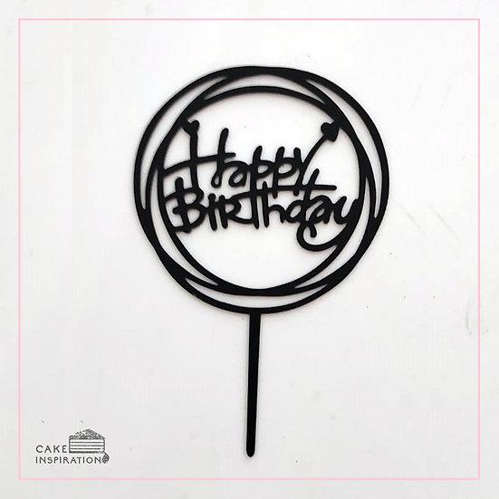 Happy Birthday - Acrylic Tag - Black Circle