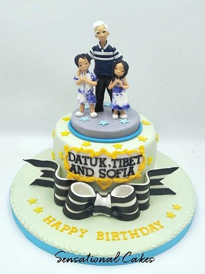 Grandpa & Grandchildren 3d Sugarcraft Figurine Birthday Gift 3d Customized Cake