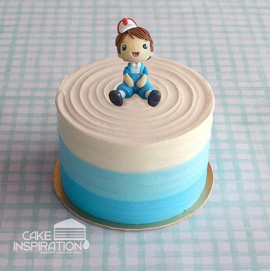 Design p / cute little boy in blue dream cream cake - children customized d-i-y