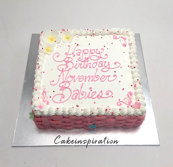 Design cake for group - design 9 - Pastel pink & white theme