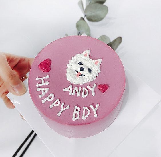 Plain Pink Pet Cake + Head Design