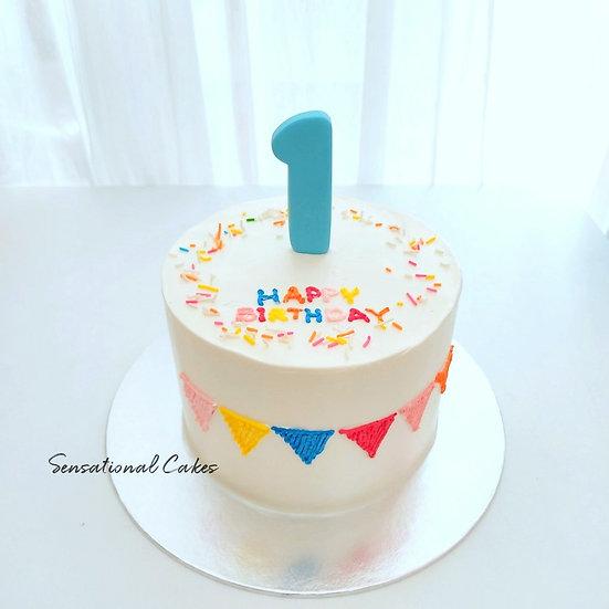 1st Birthday Sprinkles & Bunting Design Children Customized Cake