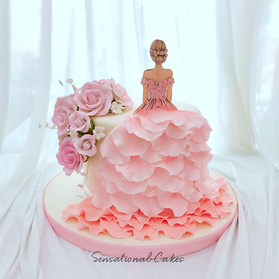 Pretty Princess Roses and Petal Dress Woman 3D Customized Cake
