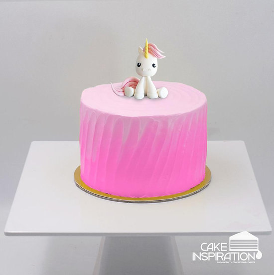 Design c/pink unicorn cute pony topper cream cake - children customized