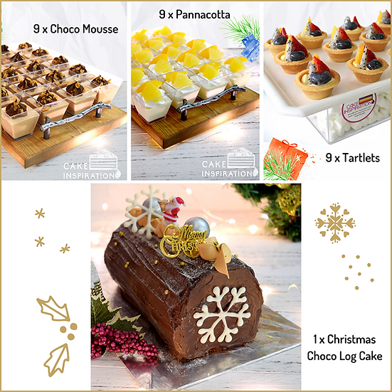 Christmas Combo package 4-in-1 Dark Choco Log cake ( CPC#36 )