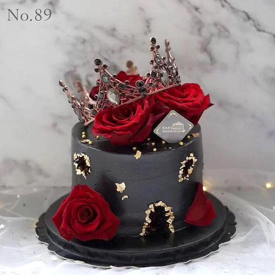 Elegant Black Tiara Crystals with Roses Topper Cake ( no.89 ) - 6 inch