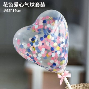 Balloon cake topper - heart shape - bllue, white, pink - confetti ( no 14 )