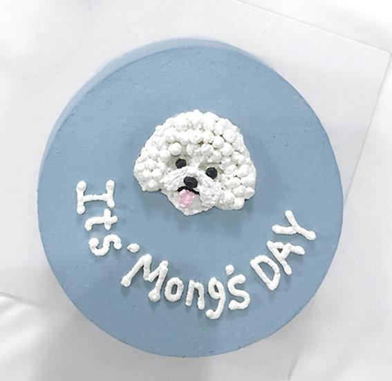 Plain Pastel Blue Pet Cake + Head Design