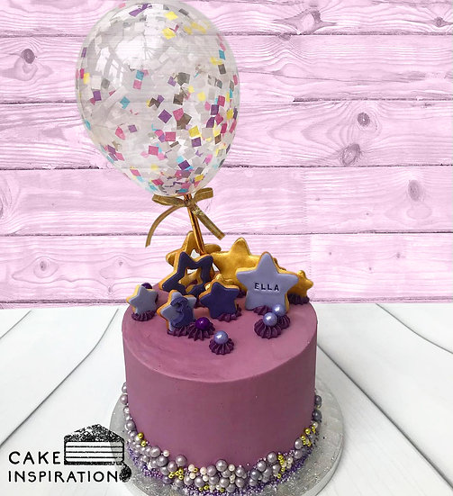 Balloon confetti - design 08 (purple gold stars confetti)