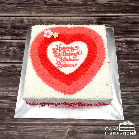 Design cake for group - design 6 - Red ombre heart
