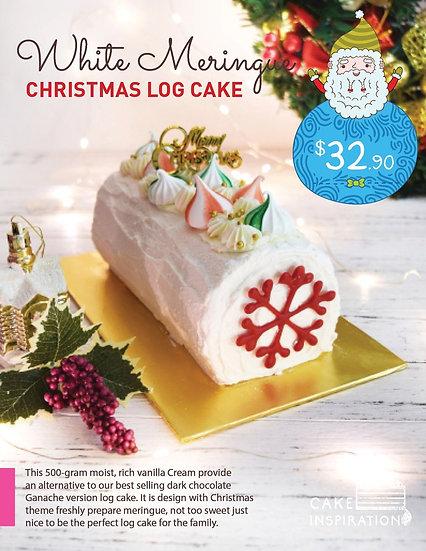 Christmas White Meringue Log Cake ( CLC#03 )