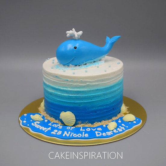 topper collection - design 1- ombre rustic cream baby blue whale cake