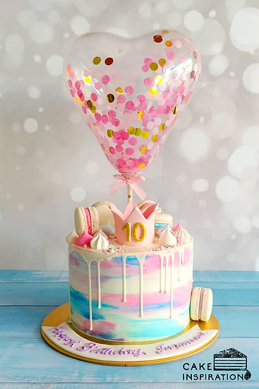 Balloon confetti - design 20 ( pink crown, macarons, watercolor drip design )