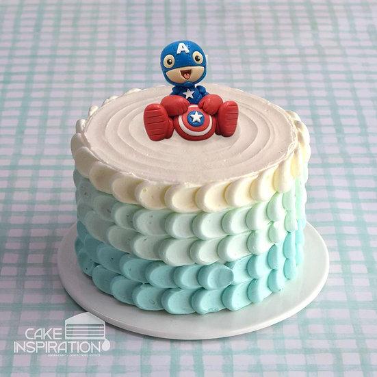 Design b / cute hero topper cream cake - children customized