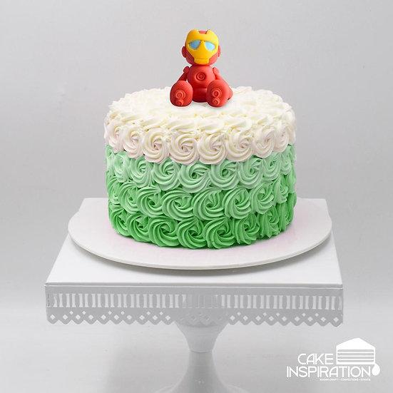 Design a / cute red hero topper cream cake - children customized d-i-y