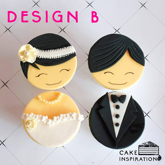 Wedding Cupcake Design B - Western Couple