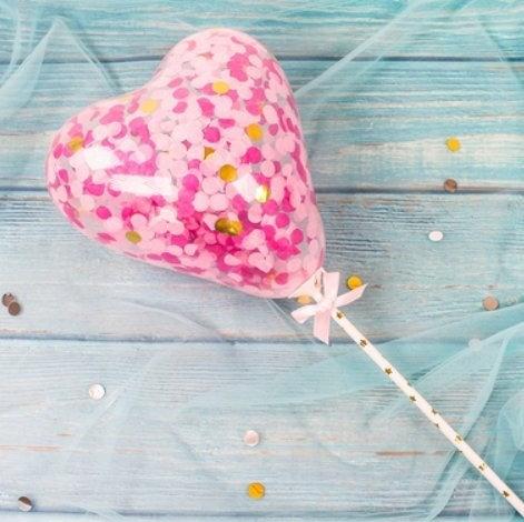 Balloon cake topper - heart shape - pink,gold, purple confetti ( no 15 )